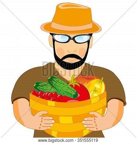 Man Farmer With Harvest Fruit In Basket
