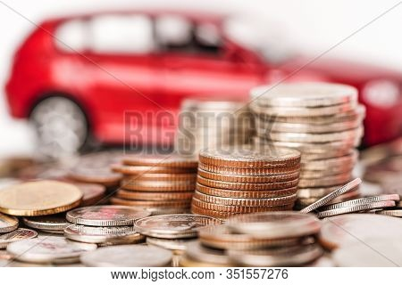 Car With Stack Coin : Car Loan, Finance, Saving Money, Insurance And Leasing Time Concepts.