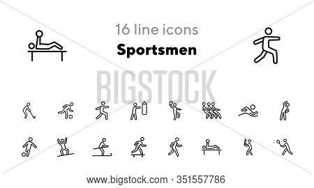 Sportsmen Line Icon Set. Athlete, Game, Competition. Sport Concept. Can Be Used For Topics Like Fitn