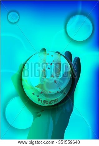 Magic Crystal Ball In Hand, Blue Light, Electric Discharges And Lightning, Mystical Illustration, Zo