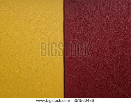 Yellow And Red Genuine Leather. The Texture Of Genuine Leather. Cover For Photo Album Or Photo Book.