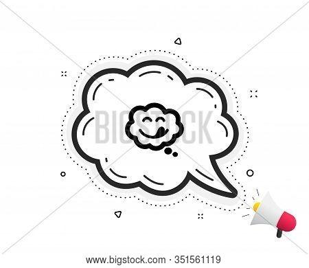 Yummy Smile Icon. Quote Speech Bubble. Emoticon With Tongue Sign. Comic Speech Bubble Symbol. Quotat