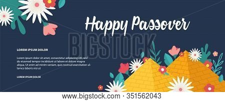 Jewish Passover Holiday, Pesah Celebration Concept. Jewish Banner With Egypt Pyramids As A Sign For