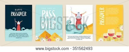 Passover Greeting Card Set. Seder Pesach Invitation, Greeting Card Template Or Holiday Flyers. Moses