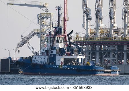 Swinoujscie, West Pomeranian / Poland - 2020: Lng Terminal -  Unloading Jetty For Large Tankers And
