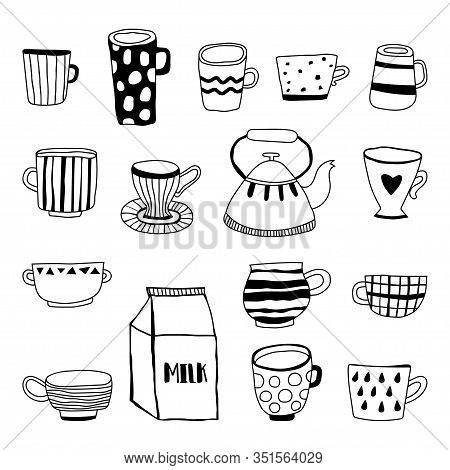 Tea Cups, Coffee Mugs, Teapot And Milk. Black And White Illustration For Coloring Book And Page.