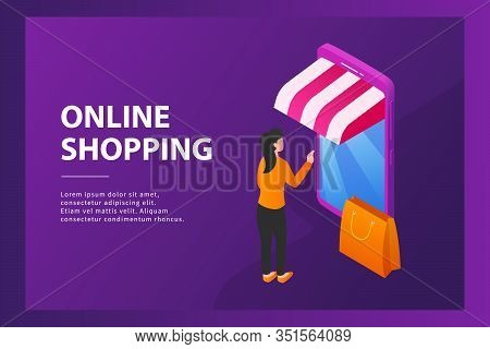 Online Shopping Concept With Mobile Phone And Store Concept For Website Template Or Landing Homepage