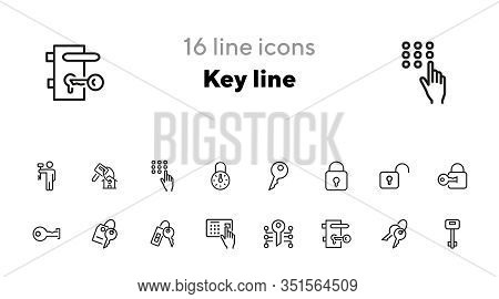 Key Line Icons. Set Of Line Icons On White Background. Safety Concept, Key, Locker, Entry Phone. Vec