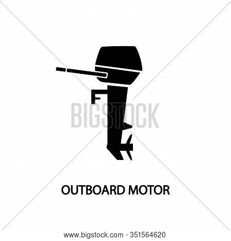 Outboard Motor Linear Icon Black. Concept For Website And Printed Materials