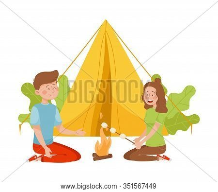 Young Man And Woman Sitting Near The Fire And Broiling Marshmallow Vector Illustration