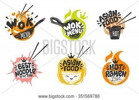Wok Asian Food Logo, Wok Pan, Plate, Box, Sticks, Lettering, Pepper, Vegetables, Cook Wok Dish Noodl
