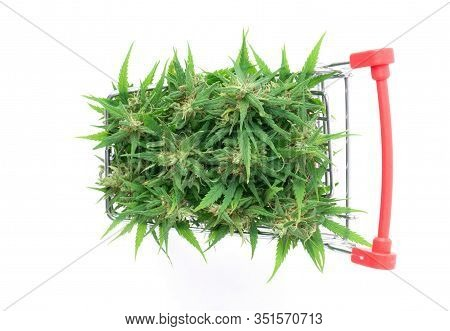 Marijuana Flower In Shopping Cart Isolated On White Background