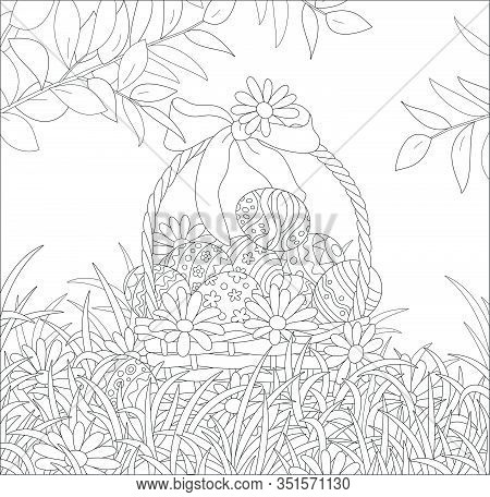 Easter Wicker Basket With A Bow, Painted Eggs And Flowers, Black And White Vector Cartoon Illustrati