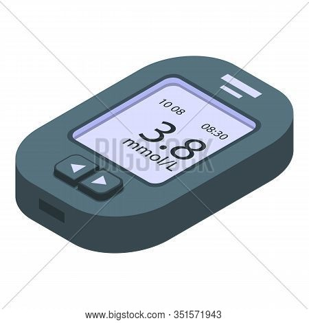 Tester Glucose Meter Icon. Isometric Of Tester Glucose Meter Vector Icon For Web Design Isolated On