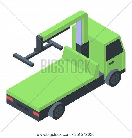 Green Tow Truck Icon. Isometric Of Green Tow Truck Vector Icon For Web Design Isolated On White Back