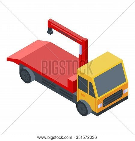 Auto Tow Truck Icon. Isometric Of Auto Tow Truck Vector Icon For Web Design Isolated On White Backgr