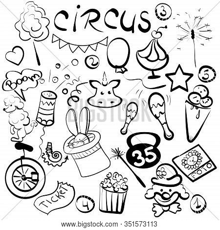 Association On The Theme Of Circus Godlike Hand,the Set Of Elements For Your Design.