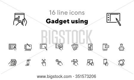 Gadget Using Line Icon Set. Chatting, Smartphone, Social Media. Online Technology Concept. Can Be Us