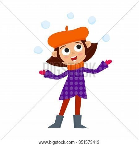 Happy Teenage In Winter Clothes Playing With Snowballs, Vector Illustration