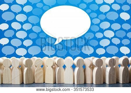 Big Conversation Talk Cloud Stands Out From Rest Above People. Active Discussion, Thoughts Expressio