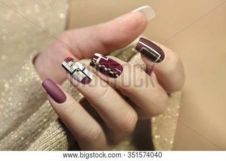 Burgundy And White Design On Long Nails With Golden Lines.fashionable Matte Glossy Nail Art.