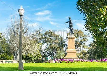 North Adelaide, South Australia - August 4, 2019: Colonel William Light Statue Pointing To The City