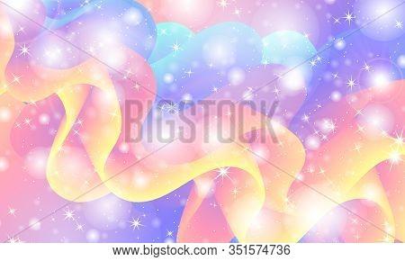 Fantasy Universe. Fairy Background. Vector Illustration. Holographic Magic Stars. Unicorn Pattern. C