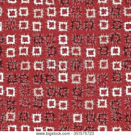 Square Stitched Patches Seamless Vector Pattern In Red Color. Geometric Surface Print Design.