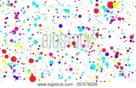 Dot Color Background. Vector Illustration. Abstract Bright Colored Dotted Circles. Falling Color Dot