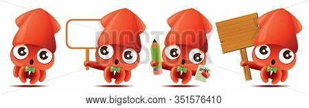 Cartoon Cute Squid With Bowtie Mascot Set, Cute Squid Holding Big White/wooden Signboards, Taking Or