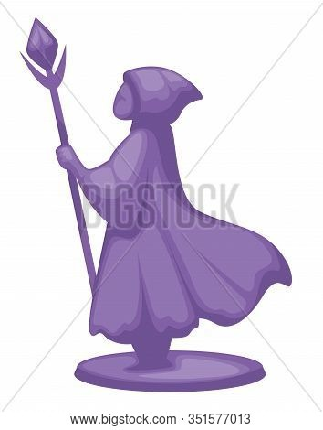 Figurine Of Magician Or Wizard Wandering With Wand