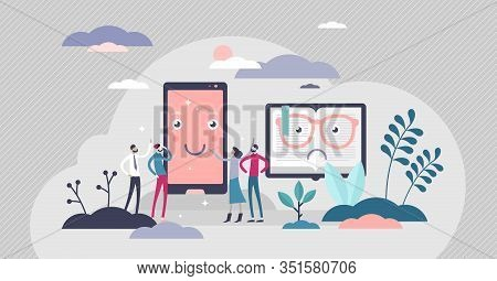 Phone Vs Book Competition, Flat Tiny Persons Vector Illustration. Modern Human Media And Information