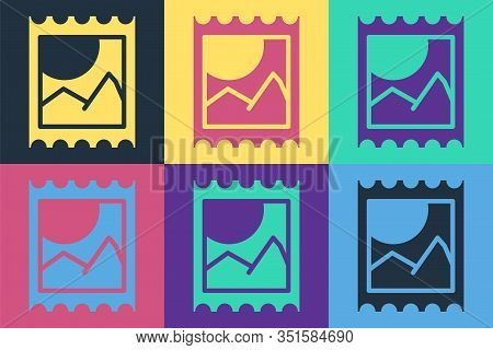 Pop Art Lsd Acid Mark Icon Isolated On Color Background. Acid Narcotic. Postmark. Postage Stamp. Hea
