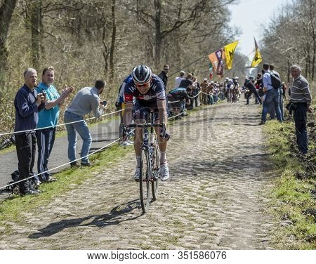 Wallers,france - April 12,2015: The Latvian Cyclist Aleksejs Saramotins Of Iam Cycling Team Was The