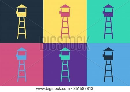 Pop Art Watch Tower Icon Isolated On Color Background. Prison Tower, Checkpoint, Protection Territor