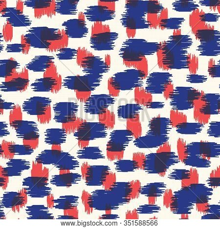 Overlay Red And Blue Abstract Hand-drawn Ikat Texture Spots Animal Skin Vector Seamless Pattern. Org