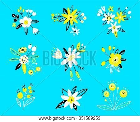 Flower Collection With Roses, Leaves, Floral Bouquets, Flower Compositions. Flat Cartoon Vector. Ill