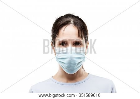 Human population virus, infection, flu disease prevention and industrial exhaust emissions protection concept - beauty young woman wearing respiratory protective medical mask white isolated