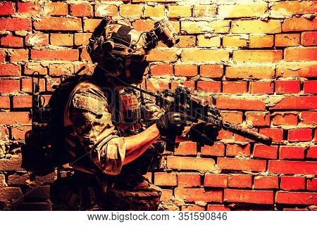 Anti-terrorist Squad Fighter, Army Elite Forces Soldier In Combat Uniform And Tactical Ammunition, A