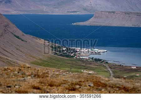 View Of Patreksfjordur City In The West Fjord During Summertime. Iceland