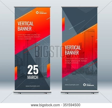 Red Business Roll Up Banner. Abstract Roll Up Background For Presentation. Vertical Roll Up, X-stand