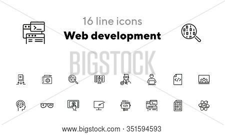 Web Development Line Icon Set. Set Of Line Icons. Developer, Internet, Technology. Web Development C