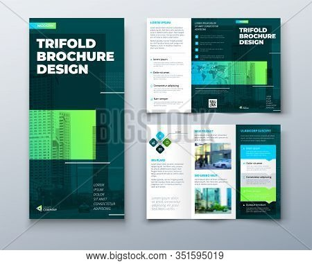 Tri Fold Brochure Design With Line Shapes, Corporate Business Template For Tri Fold Flyer. Creative
