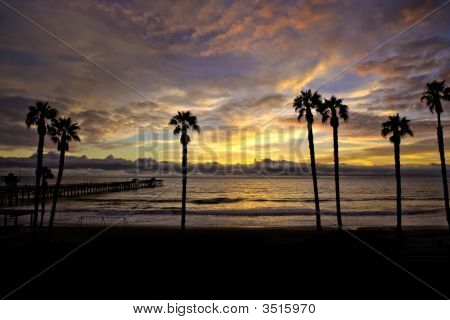 Silhouette Pier With Beautiful Sky In San Clemente