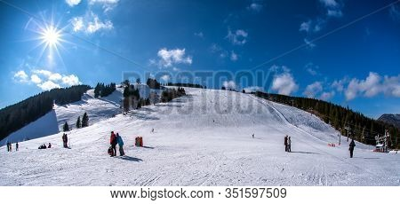 Ruzomberok, Slovakia - February 15: Skiers On Slope In Resort Malino Brdo On February 15, 2020 In Ru