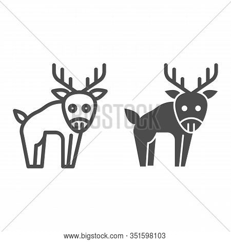 Deer Line And Solid Icon. Horned Wild Forest Animal Silhouette. Animals Vector Design Concept, Outli