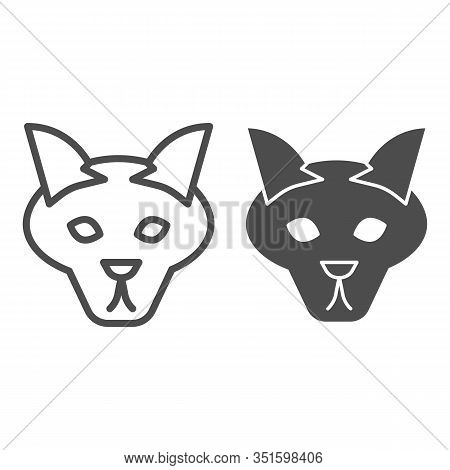 Wolf Head Line And Solid Icon. Coyote, Wild Animal Face, Simple Silhouette. Animals Vector Design Co