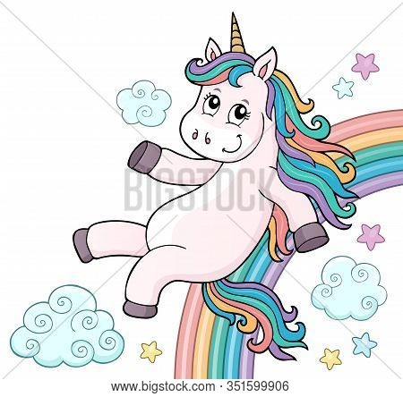 Cute Unicorn Topic Image 6 - Eps10 Vector Picture Illustration.
