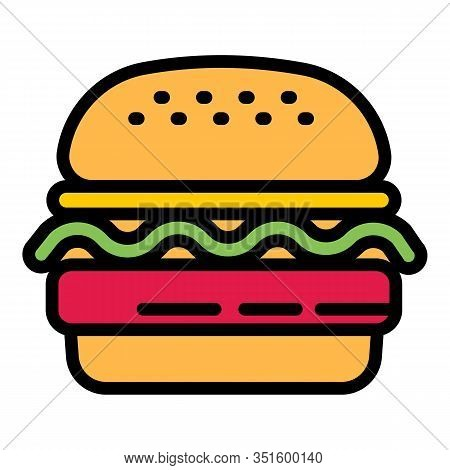 Lunch Burger Icon. Outline Lunch Burger Vector Icon For Web Design Isolated On White Background