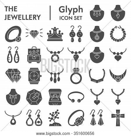 Jewellery Glyph Icon Set, Accessories Symbols Collection, Vector Sketches, Logo Illustrations, Bijou
